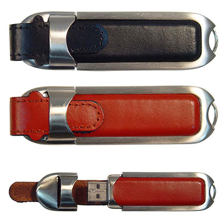 Clé USB en cuir et aluminium