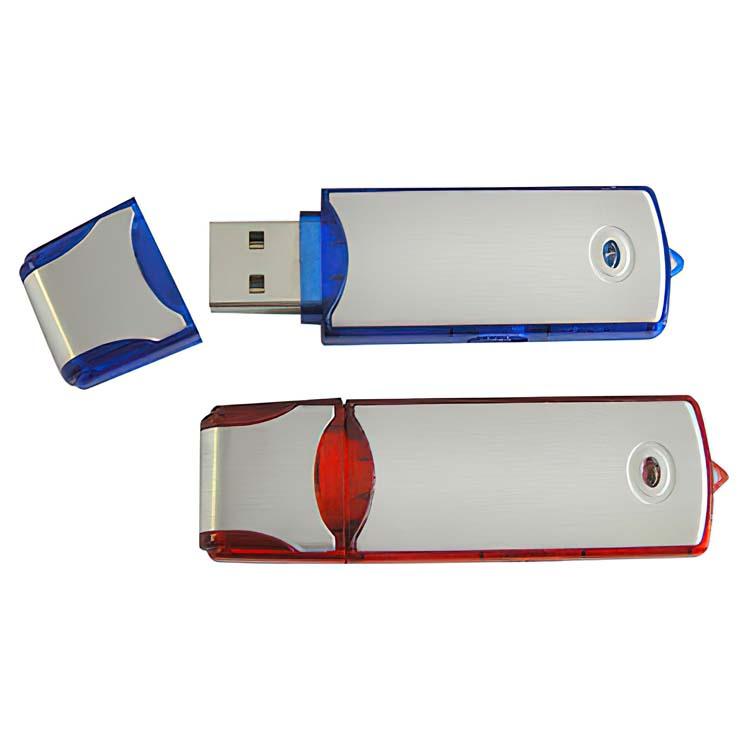 Clé USB en aluminium et plastique translucide