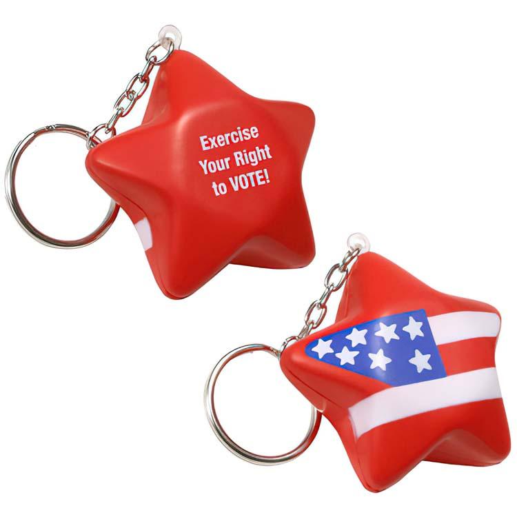 Patriotic Star Key Chain Stress Ball