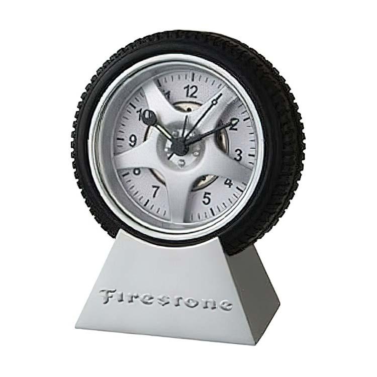 Horloge en forme de roue avec alarme et base en métal