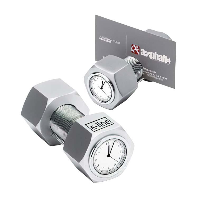 Horloge/porte-cartes écrou et boulon en métal