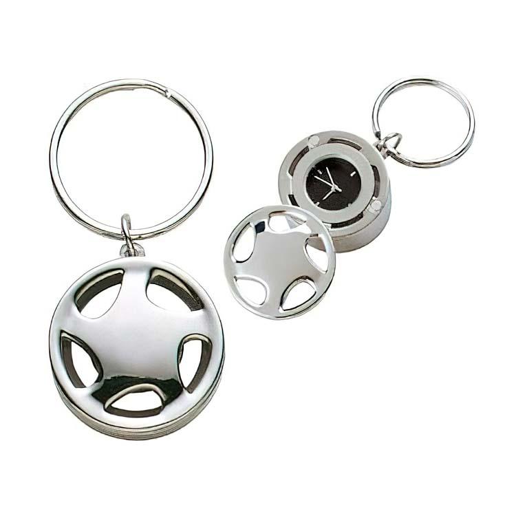 Porte-clés en forme de roue avec horloge