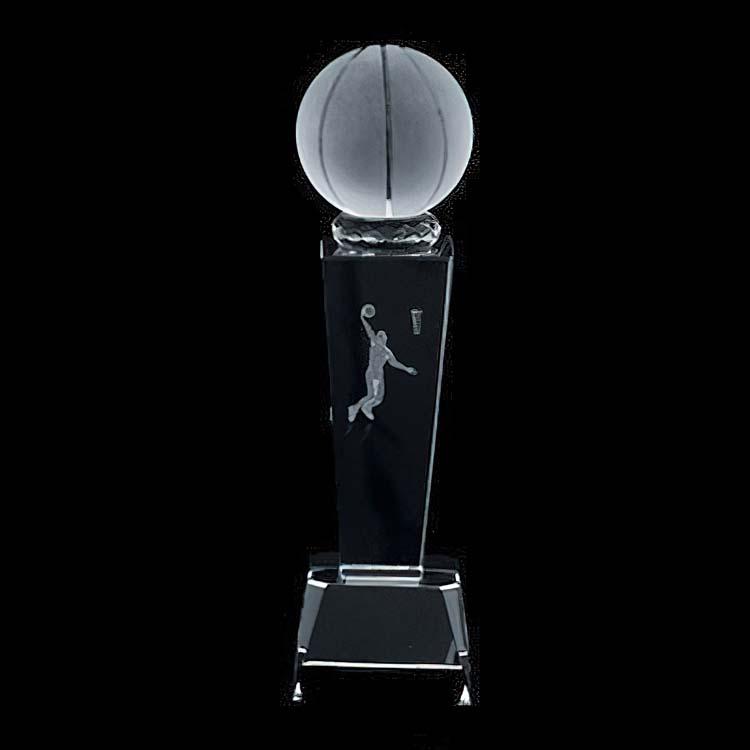 Trophée 3D ballon de basketball en cristal