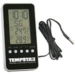 Clock with digital indoor/outdoor thermometer