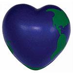 Globe terrestre en forme de coeur balle anti-stress