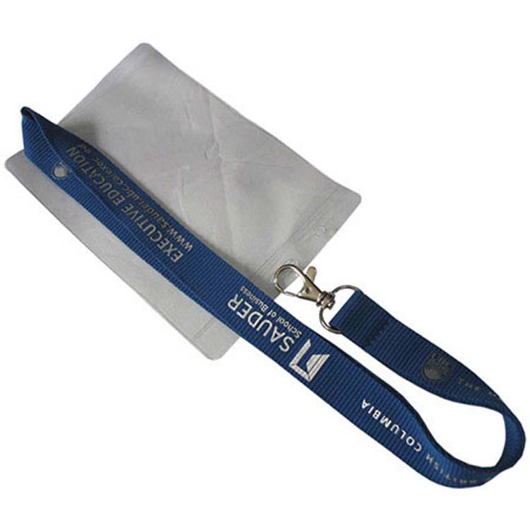 Cordon plat avec pince en métal et pochette pour carte d'identité