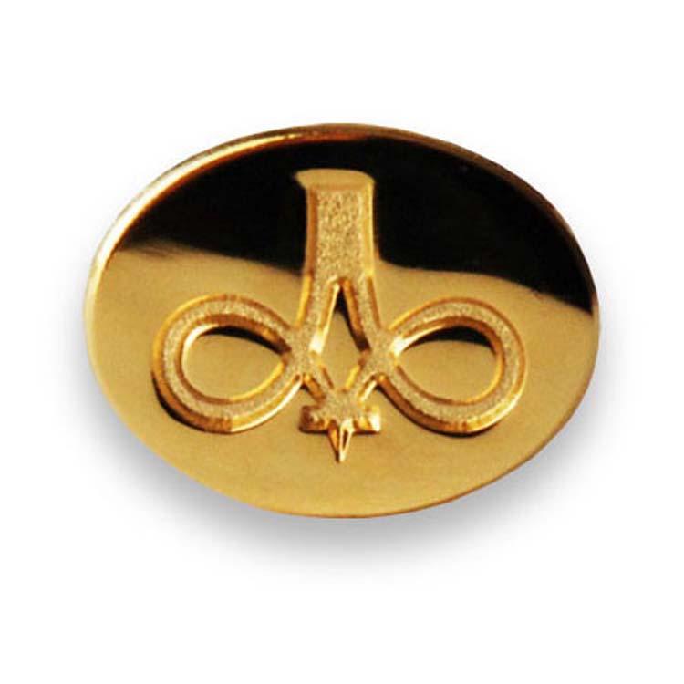 Épinglette ovale dorée