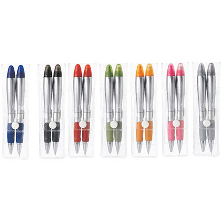 Ensemble stylo, surligneur, pousse-mines avec efface Silver Blossom