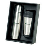 Stainless Steel Flask and Tumbler Set