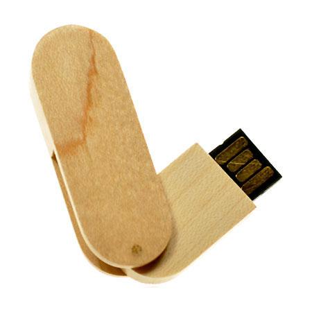 Clé USB pivotante promotionnelle en bois