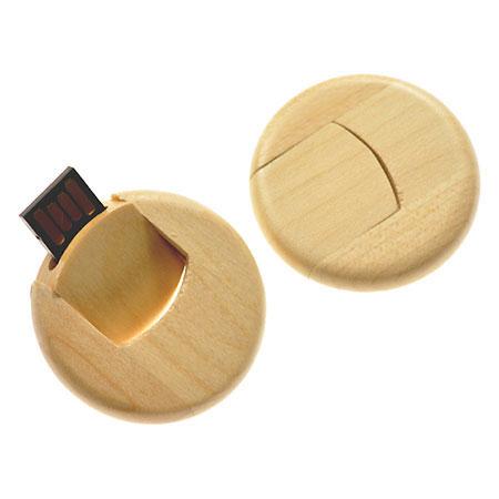 Clé USB ronde en bois