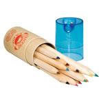 12 crayons de couleur en bois avec taille-crayon