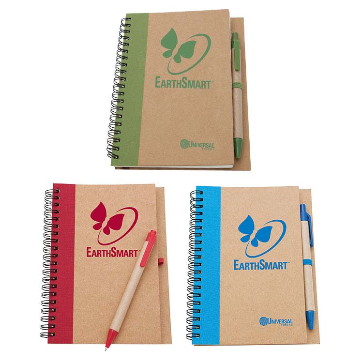 Bloc-note avec couverture en carton recyclé et stylo en carton