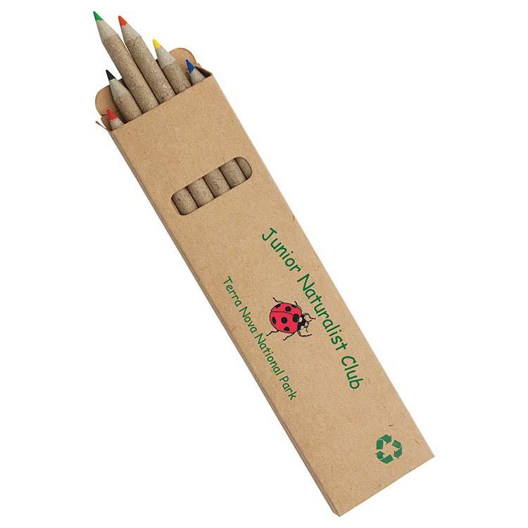 Boîte de 6 crayons couleur fait en papier recyclé