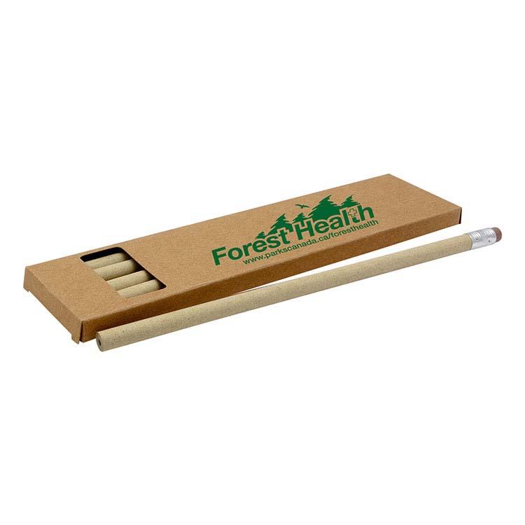 Boîte de 6 crayons faits en papier recyclé