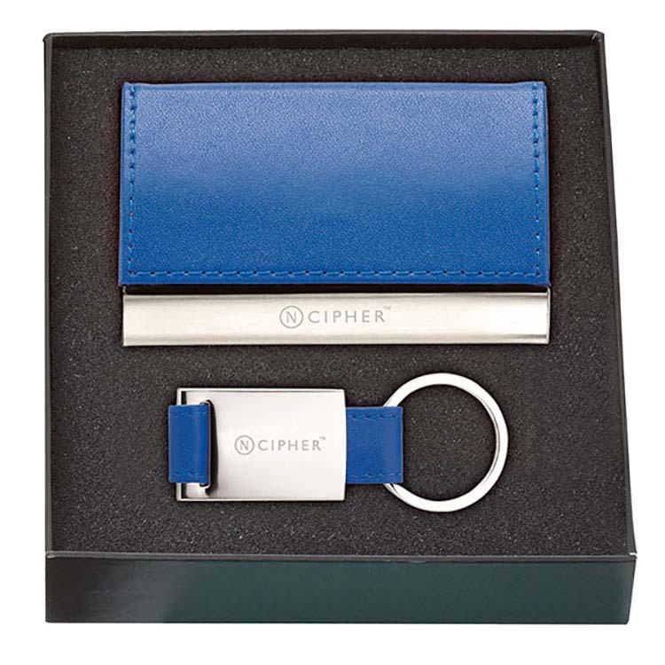 Ensemble cadeau étui pour cartes et porte-clés en cuir #2