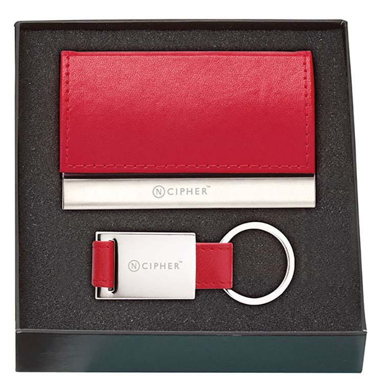 Ensemble cadeau étui pour cartes et porte-clés en cuir #5