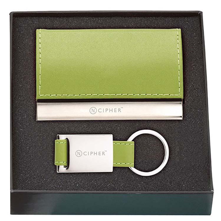 Ensemble cadeau étui pour cartes et porte-clés en cuir #6