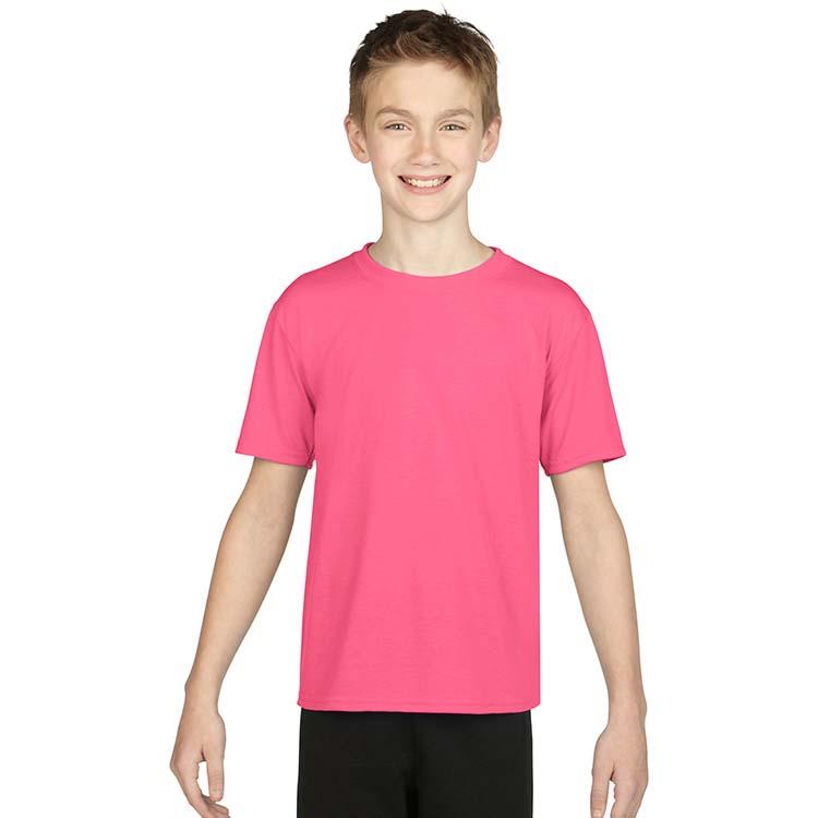 T-shirt Gildan Performance 42000B pour enfant - Rose de sécurité