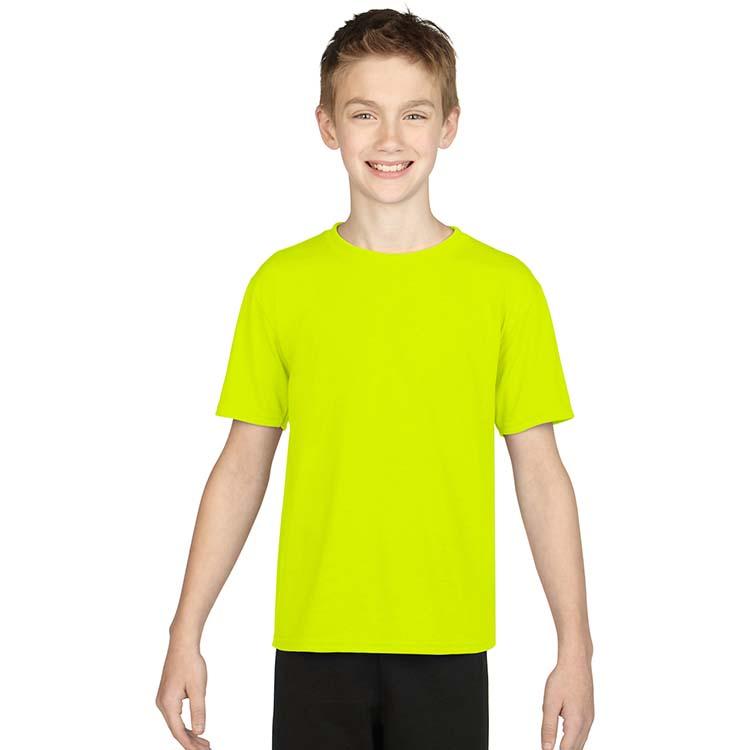 T-shirt Gildan Performance 42000B pour enfant - Vert sécurité