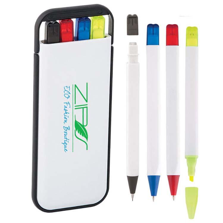 Ensemble de crayons 4-en-1 dans un étui rigide ABS