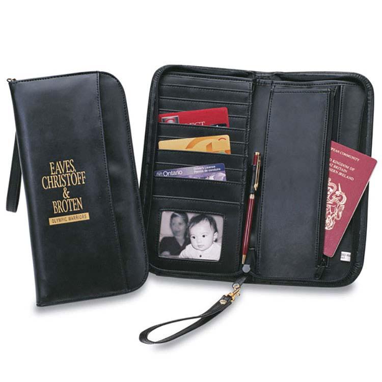 Porte-documents en simili-cuir avec porte-monnaie intégré