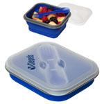 Boîte pour le lunch à extension en silicone avec fourchette et cuillère