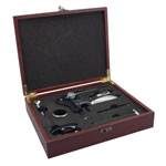 Mahogany colored case with rabbit wine bottle opener - 6 piece wine service set