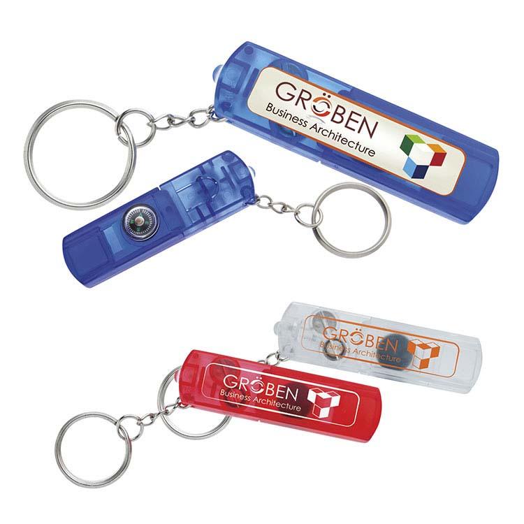 Porte-clés avec sifflet et boussole
