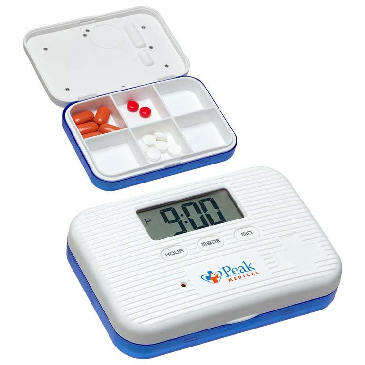 Pilulier à 6 compartiments avec alarme