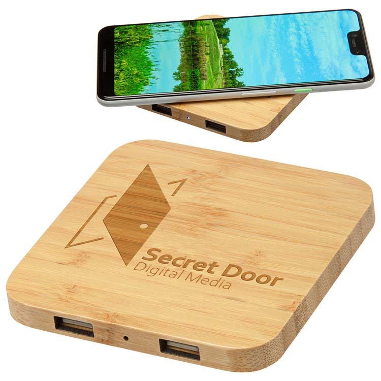 Chargeur sans fil 5W Panda en bamboo avec deux ports USB