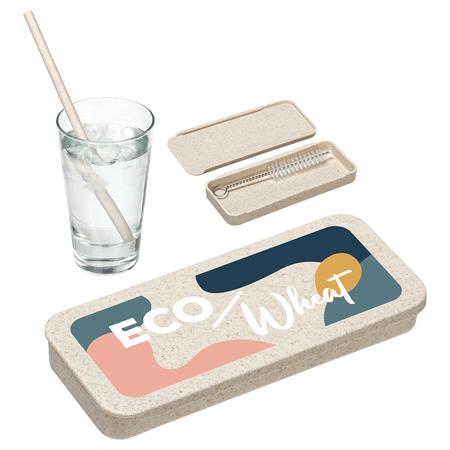 Ensemble paille de blé Eco avec brosse de nettoyage