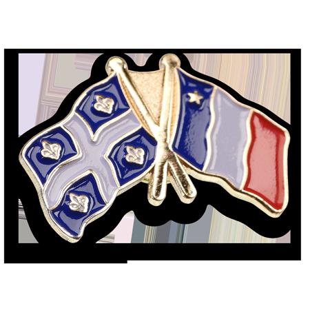 Épinglette drapeaux Québec Acadie