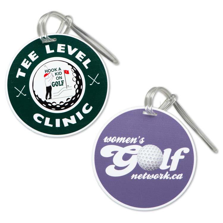 Étiquette ronde pour sac de golf