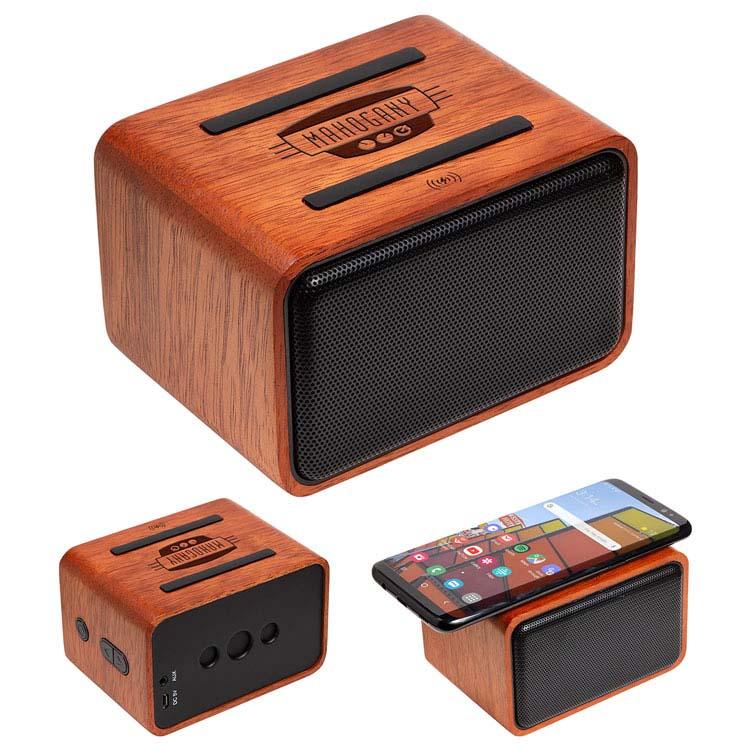Haut-parleur sans fil en acajou avec chargeur sans fil