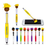 Multicultural MopToppers Screen Cleaner with Stylus Pen Brown