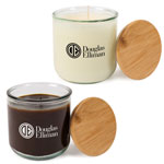 10 oz Recycled Glass Aromatherapy Candle with Bamboo Lid
