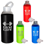 18 oz Glass Bottle with Color Silicone Sleeve