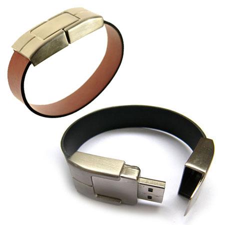 Bracelet USB en acier inoxydable et cuir