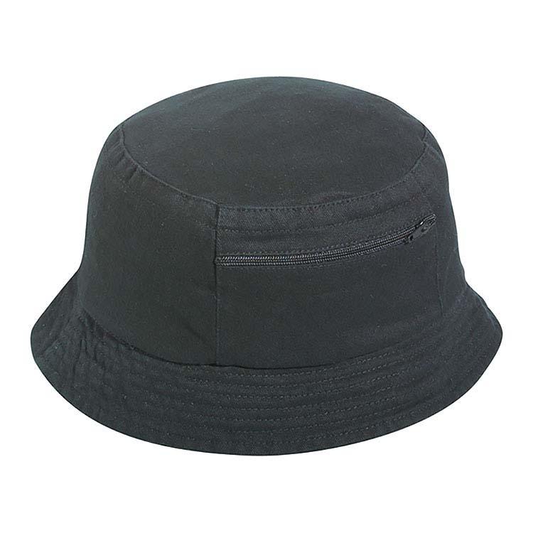 Chapeau Bob pour enfant en coton délavé avec poche zippée