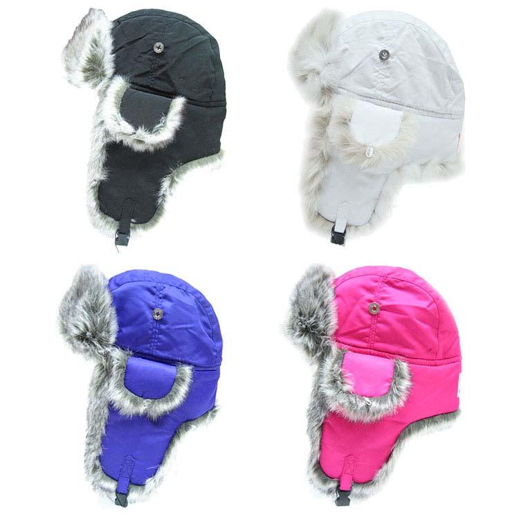 Chapeau de patrouilleur en nylon avec garnitures en fausse fourrure pour jeune