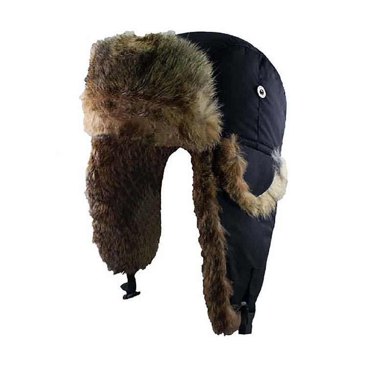 Chapeau de patrouilleur en nylon avec garnitures en fourrure de lapin