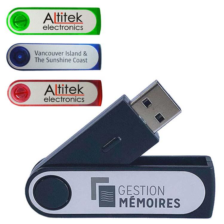 Clé USB pivotante en plastique
