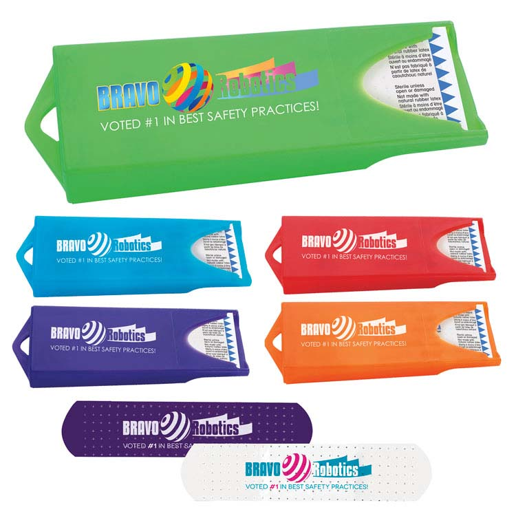Distributeur coloré original avec des pansements blancs personnalisés