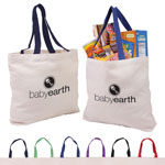 Cotton Canvas Tote with Gusset & Color Accent Handles