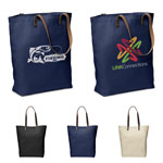 Urban Cotton Tote with Leather Handles