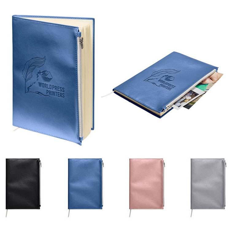 Journal Foundry métallique à reliure souple avec poche zippée