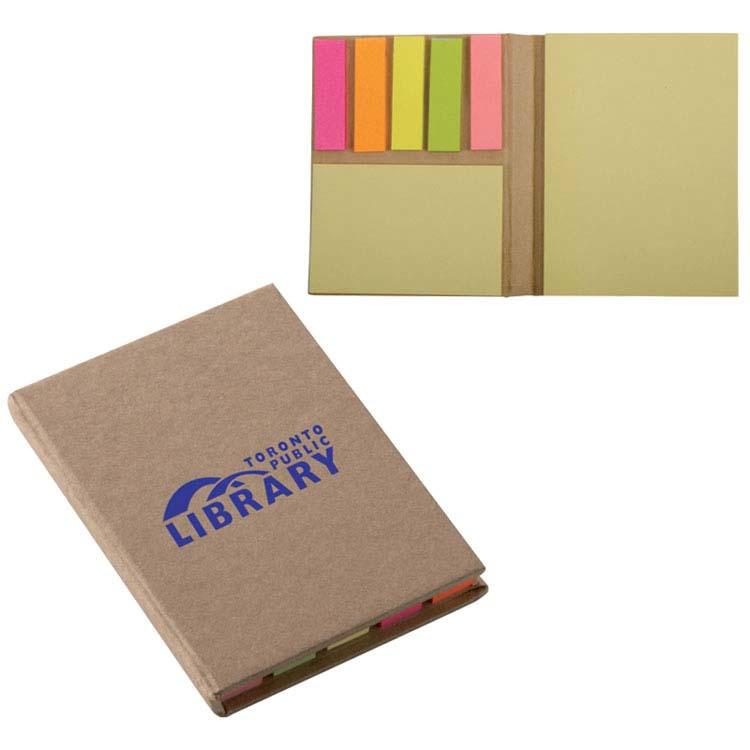 Mini livre avec notes adhésives et signets colorés adhésifs