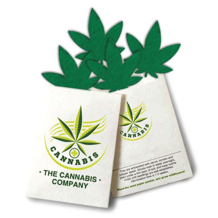 Pochette de graines en formes de feuilles de cannabis
