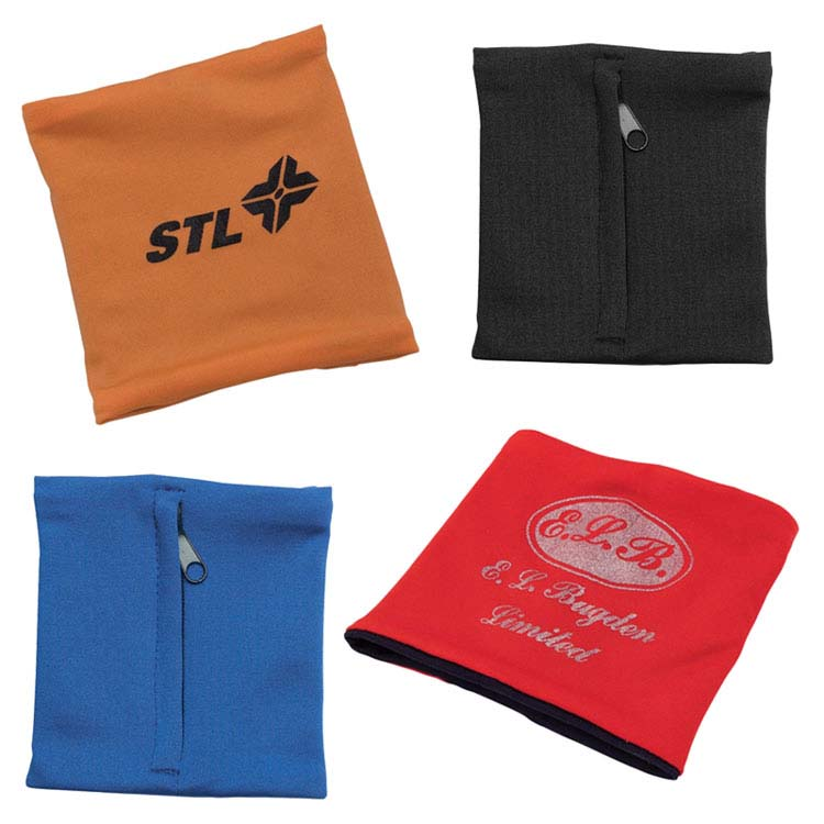 Elastic Material Zipped Wrist Pouch